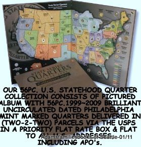 1999 to 2009 Statehood Quarter Map and 56pc. Philadelphia Mintmarked Quarter Collection (Quarter Collection Album)