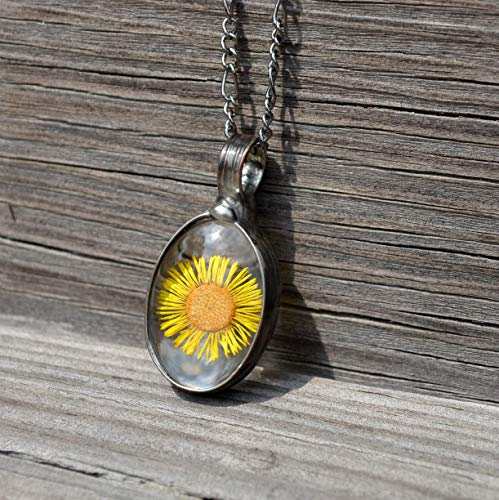 Sunflower Real Pressed Flower Charm Necklace for Women Glass Not Resin Handmade Jewelry Adjustable Chain September Birth Flowers 2808