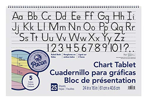 Pacon Chart Tablet, 24 x 16 Inches, 1-1/2 Inch Ruled Long Way, 25 Sheets - 384810 (Chart Paper Color)