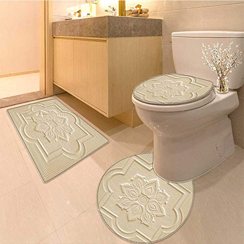 Miki Da 3 Piece Toilet mat set patterns on the ceiling gypsum sheets of white flowers 3 Piece Shower Mat set