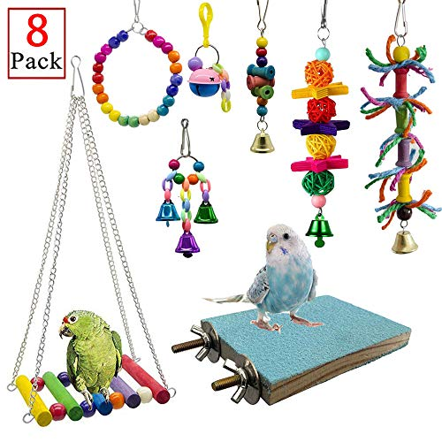 - Deloky 8 Packs Bird Swing Chewing Toys- Parrot Hammock Bell Toys Suitable for Small Parakeets, Cockatiels, Conures, Finches,Budgie,Macaws, Parrots, Love Birds