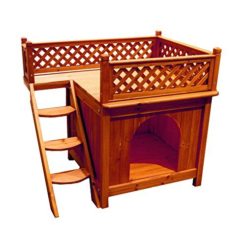 Dog House Furniture With Staircase Balcony Ventilated, Wood Cedar Brown (Insulated Dog House Extra Large)