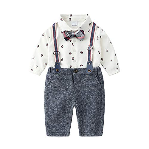 Shirt Bib Pants (Baby Boys Gentleman Outfits Suits, Infant Shirt+Bib Pants+Bow Tie+Suspender Overalls Clothes Set,6-9M Gray)