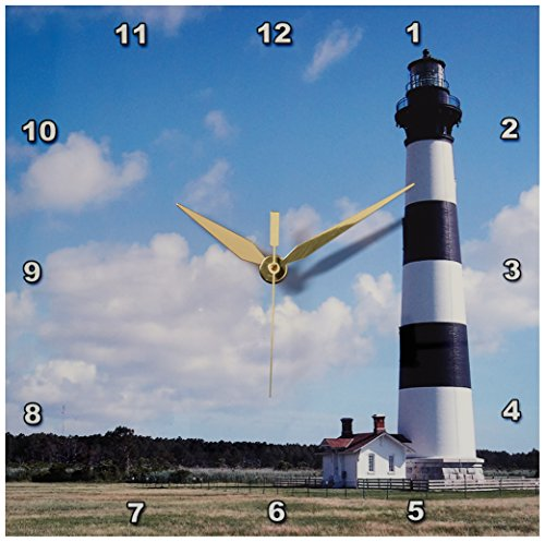 3dRose dpp_93273_1 Nc, Bodie Island Lighthouse Keepers Quarters-Us34 Lse0014-Lynn Seldon-Wall Clock, 10 by 10-Inch - Nc Lighthouse