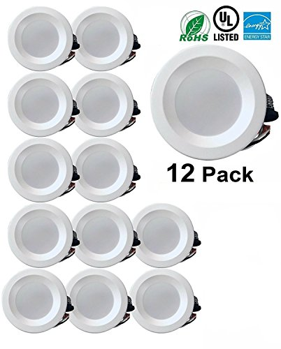 4″ Dimmable LED Downlight Smooth Trim, 540 Lumens, 4000K Cool White, Recessed Retrofit Lighting Trim, 9W (60W Replacement), ENERGY STAR UL Listed, 12 Pack For Sale