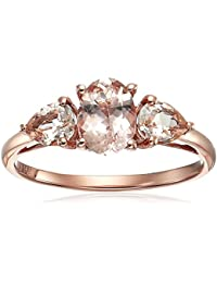 10k Rose Gold Morganite Oval and Pear 3-Stone Engagement Ring