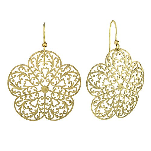 Brushed Gold Tone Flower Shaped Filigree Cut Out Dangle Earrings