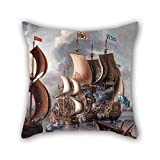 uloveme oil painting A Castro, Lorenzo - A Sea Fight with Barbary Corsairs cushion cases ,best for pub,boys,outdoor,office,bar seat,dinning room 18 x 18 inches / 45 by 45 cm(each side)