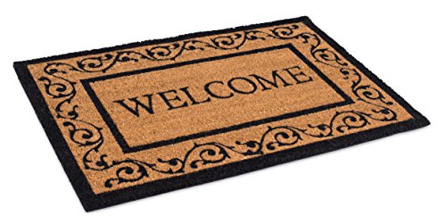 (BIRDROCK HOME Welcome Coir Doormat with Scroll Border | 24 x 36 Inch | Oversized Welcome Mat with Black Border and Natural Fade | Vinyl Backed | Outdoor )