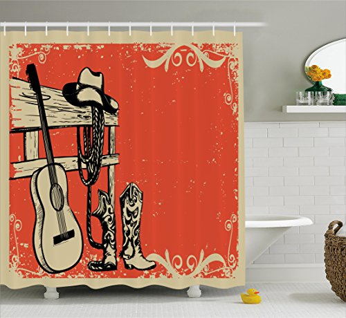 Curtain Set By Ambesonne Illustration Of Wild West Elements With Country Music Guitar And Cowboy Boots Retro Art Bathroom Accessories 75 Inches Long