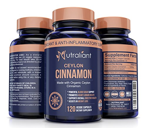 ORGANIC CEYLON CINNAMON CAPSULES – Super Antioxidant & Anti-Inflammatory Supplement for Healthy Blood Sugar, BP, Joint Support, Brain & Cardiovascular Health – 1200mg True Sri Lanka Cinnamon 120 Pills For Sale