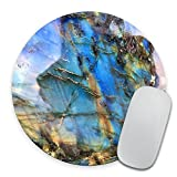 Labradorite Mouse Pad, Rainbow Moonstone Round Mousepad, Iridescent Holographic Stone Mouse Pad, Blue Flash Stone