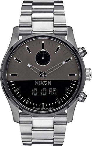 Duo Display - Nixon Men's A932131 Duo Analog-Digital Display Swiss Quartz Silver Watch