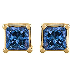 3/4 ct. Blue - I1 Princess Cut Diamond Earring Studs in 14K Yellow Gold