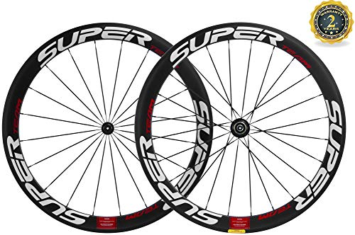 - Superteam 50mm Clincher Wheelset 700c 23mm Width Cycling Racing Road Carbon Wheel Decal (White and Red Decal)