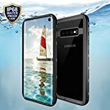 SHARKSBox Galaxy S10 Waterproof Case,Underwater Cover Full Body Protective, Heavy Duty Protective Carrying Slim Case Shockproof IP68 Waterproof Case for S10 (Black)