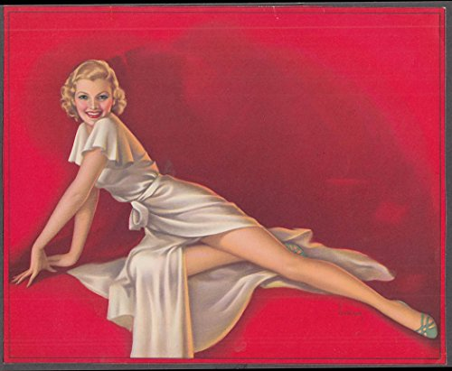 Pearl Frush pin-up print Reclining blonde in white silk outfit -