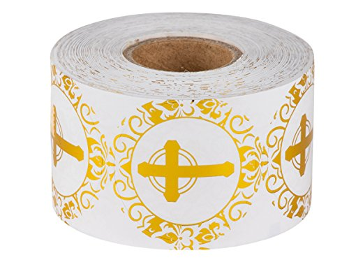 Religious Stickers – 500-Piece Christian Sticker Roll, Cross Design Round Labels with Gold Foil Finish, 1.5 Inches in (Religious Sticker)