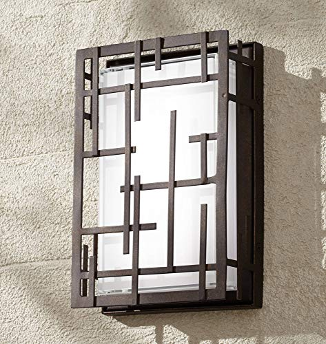 - Modern Lines Outdoor Wall Light Fixture LED Dimmable Bronze Grid 9 1/4