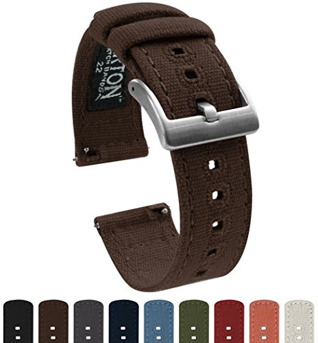 BARTON Canvas Quick Release Watch Band Straps - Choose Color & Width - 18mm, 20mm, 22mm - Chocolate Brown 20mm