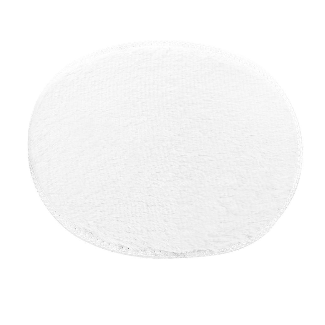 Lingery 1PC 11.8''x15.7''/30x40cm Small Oval Non Slip Fluffy Shaggy Home Bedroom Bathroom Floor Door Shower Rugs Carpet Bath Mat Rugs (White)