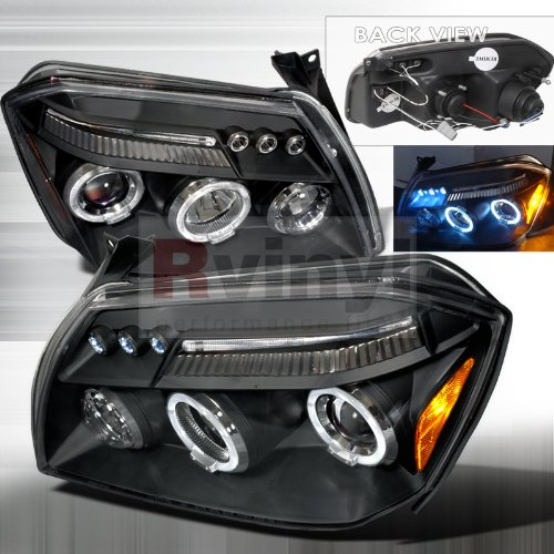Black Bezel LED Halo Projector Headlights Made For Dodge Magnum 05-07 2005 2006 2007