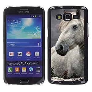 Stuss Case / Funda Carcasa protectora - Horse Mane Nature Abstract White Stallion - Samsung Galaxy Grand 2 SM-G7102 SM-G7105