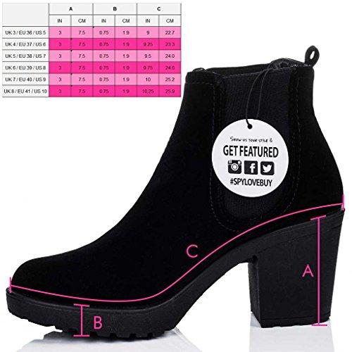 SPYLOVEBUY YAEL Mujer Plataforma Tacón Bloque Botes Bajas Zapatos Negro - Gamuza Sintética
