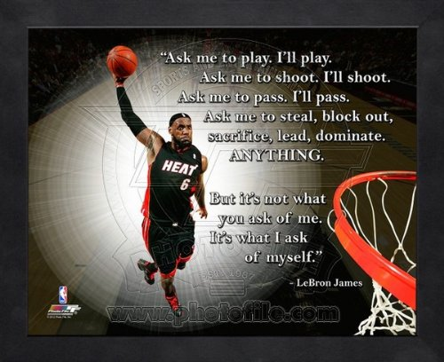 LeBron James Miami Heat Pro Quotes Framed 8x10 Photo - With Lebron James Glasses