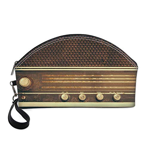 Vintage Decor Small Portable Cosmetic Bag,Old Antique Retro 60s Radio Music Player Loudspeakers Buttons Image For Women,One size