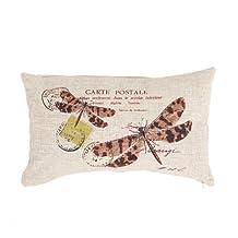 Ikeelife Linen Rectangle Decorative Cushion Cover Lumbar Pillowcase 30 x 50 Dragonfly Carte Postale With Pillow Insert