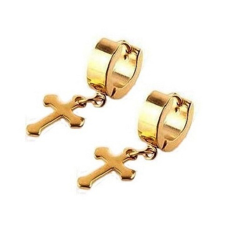 Amazon.com: Mens & Womens 13mm Gold Stainless Steel Hoop Earrings ...