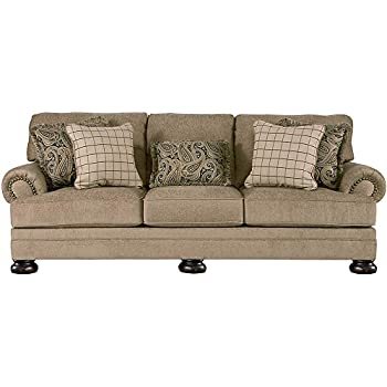 Ashley Furniture Signature Design   Keereel Sofa With 5 Pillows   3 Seats  With Plush Upholstery   Traditional   Sand
