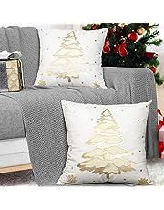 MoKo 2 stuks kussenhoes, zachte vierkante kussenslopen, folie hete sneeuwvlokken, decoratieve kussenslopen voor bankbankbankbed, thuisdecoratie, 18 x 18 inch, 45 x 45 cm, goud