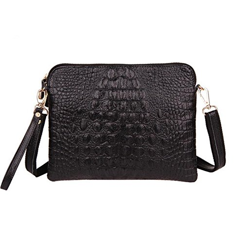 - Crocodile Clutch Messenger Bags Handbags Women Genuine Leather Solid Shoulder (Black Color)