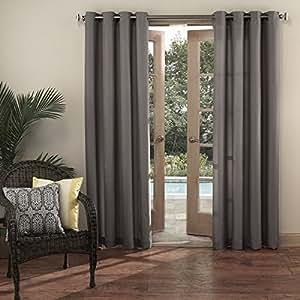 1pc 84 gris color Gazebo cortina panel único, al aire libre Pergola Drapes Porch Deck Cabana Patio pantalla entrada sol Lanai, gris sólido patrón de color rugby colores exterior