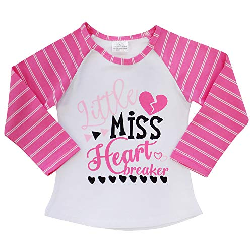 (So Sydney New Toddler & Girl Fall & Winter Holiday Sparkle Ruffle Raglan T-Shirt (L (5), Little Miss Heart)