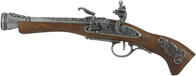 Denix Left Handed Austrian Flintlock Pistol, Gray