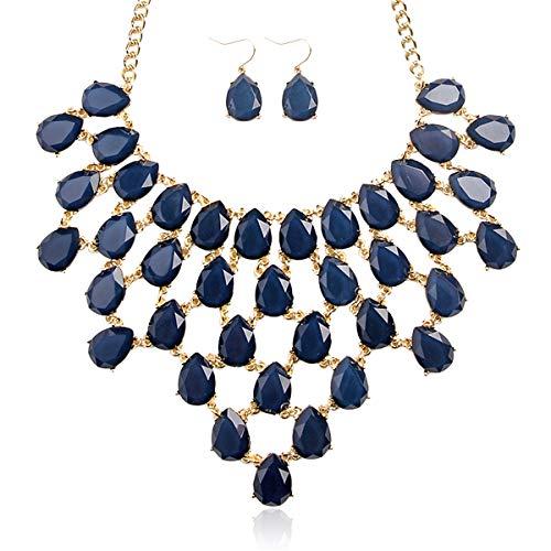 (RIAH FASHION Colorful Acrylic Bead Bubble Statement Hammock Bib Necklace - Tessellate Cluster Statement Collar Beaded Flower, Linked Teardrop Jewel Net (Teardrop Net Bib - Navy))