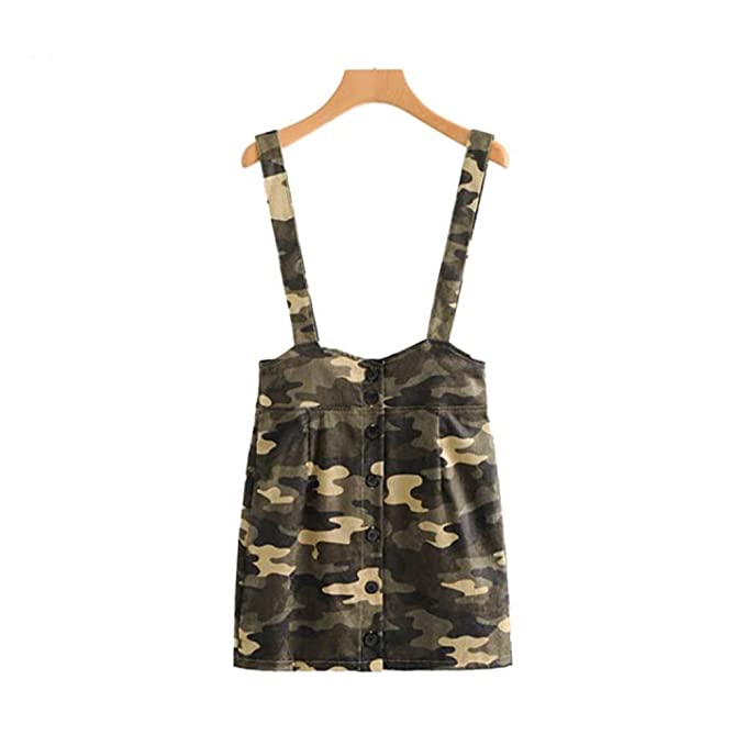 b6bf8fa04349c Women Corduroy Suspender Skirts Chic Camouflage Faldas Mujer Buttons  Vintage Female Casual Chic A Line Skirts BA349 at Amazon Women's Clothing  store: