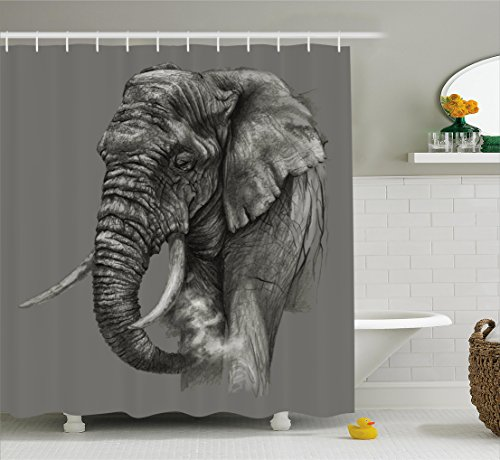 Old African Elephant (Animal Decor Shower Curtain by Ambesonne, Rough Sketch Portrait of African Elephant Safari Spiritual Mammal Artsy Picture, Fabric Bathroom Decor Set with Hooks, 75 Inches Long, Dark Grey)