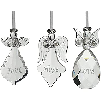 Exceptionnel Faith Hope Love Angel Ornaments   Set Of 3 Crystal Hanging Angels   FAITH  HOPE LOVE