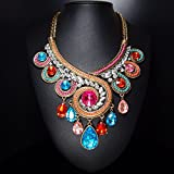 LiCHY Antique New Vintage Twisted Drop Crystal Big Statement Chocker Chunky Necklace for Women (Size: 55cm, Color Multicolor)
