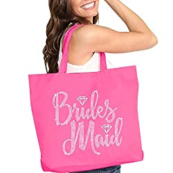 Diamond Motif Rhinestone Pink Totes-Brides Maid