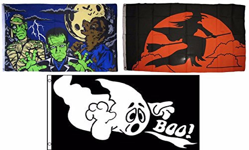 ALBATROS 3 ft x 5 ft Happy Halloween 3 Pack Flag Set #46 Combo Banner Grommets for Home and Parades, Official Party, All Weather Indoors Outdoors