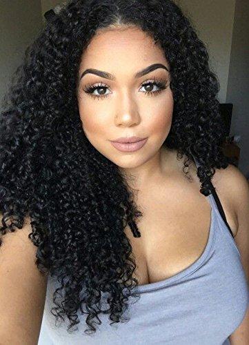 WINBOWIG- Peluca frontal de encaje completo rizado de pelo humano brasileño virgen, peluca de