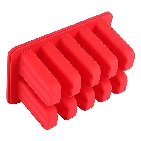 Fdit Moldes para paletas de Silicona 10 Celdas Helado de Silicona Molde para Helado Molde para Hacer Helado con Tapa (Rojo): Amazon.es: Hogar
