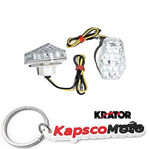Krator Motorcycle 2000-2008 Suzuki LED Flushmount Turn Signals Clear Flush Mount Indicators Signals Fits GSXR 600 750 1000 1200 SV1000 BANDIT + KapscoMoto Keychain ()
