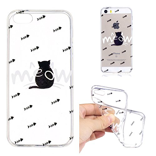 iPhone 5 5S SE Custodia , Leiai Moda Scoiattolo Trasparente Silicone Morbido TPU Cover Case Custodia per Apple iPhone 5 5S SE