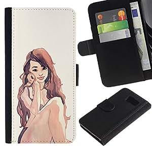 All Phone Most Case / Oferta Especial Cáscara Funda de cuero Monedero Cubierta de proteccion Caso / Wallet Case for Samsung Galaxy S6 // Watercolor Red Head